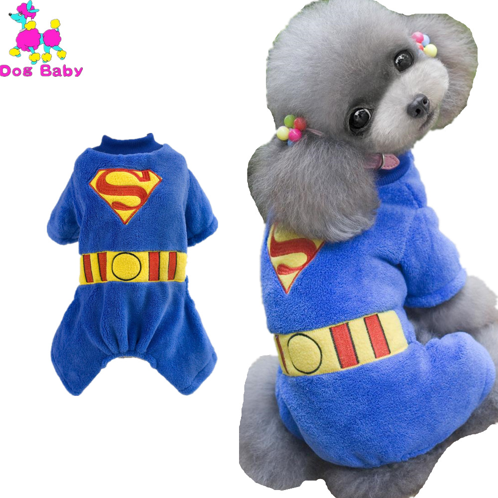 Fleece Pet Coat Warm Winter Dog Clothes Print Superman Pattern Dogs Hoodie Blue Color Four Legs Dog Coat Size S M L XL XXL(China (Mainland))
