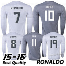 2016 Cristiano RONALDO Long Sleeve Jerseys JAMES BALE Top Thai Quality 15 16 Camisetas de futbol Long Sleeve Soccer Jerseys (China (Mainland))