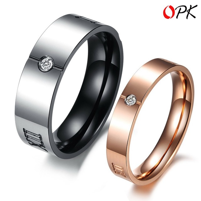 OPK JEWELRY Titanium Steel Couple Ring, Cool Black style for Men Ring + Cute Rose Gold Style for Women Ring, Free Shipping 379