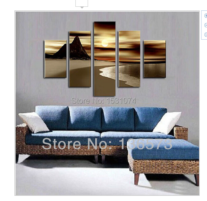 HandPainted Brown Ocean Waves Oil Painting On Canvas 5 Piece Wall Art Sets Seascape Beach Sunset Modern Pictures Home Decoration(China (Mainland))