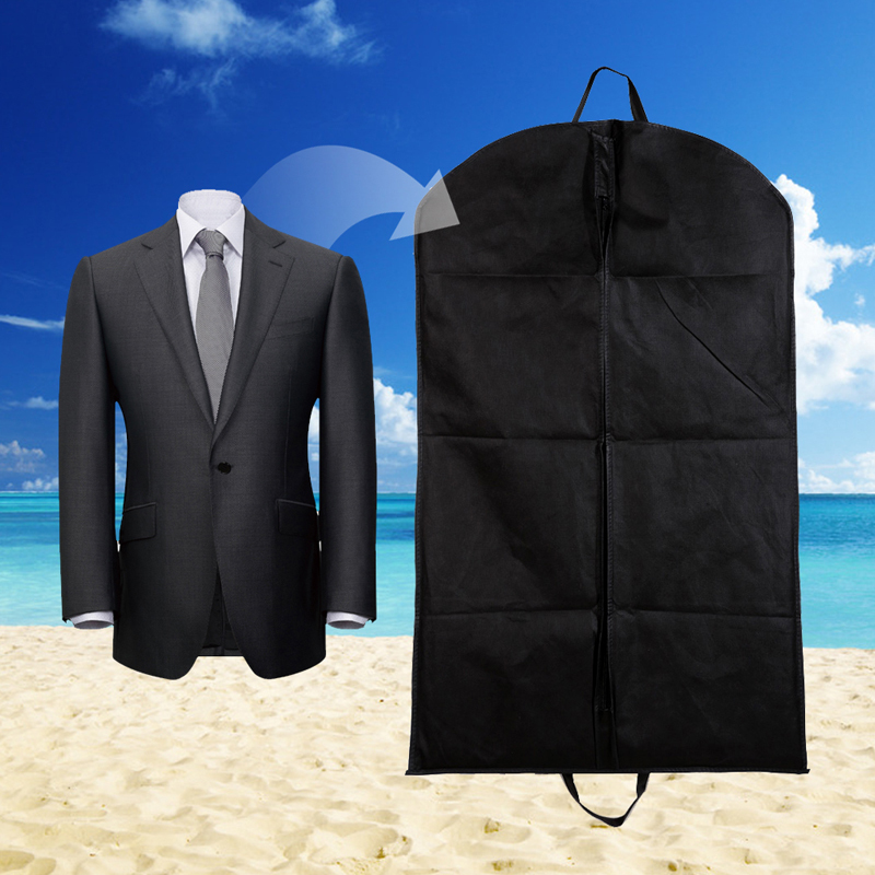 2016 New Non Woven Fabric Black Dustproof Hanger Coat Clothes Garment Suit Cover Storage Bags 100 x 60cm(China (Mainland))