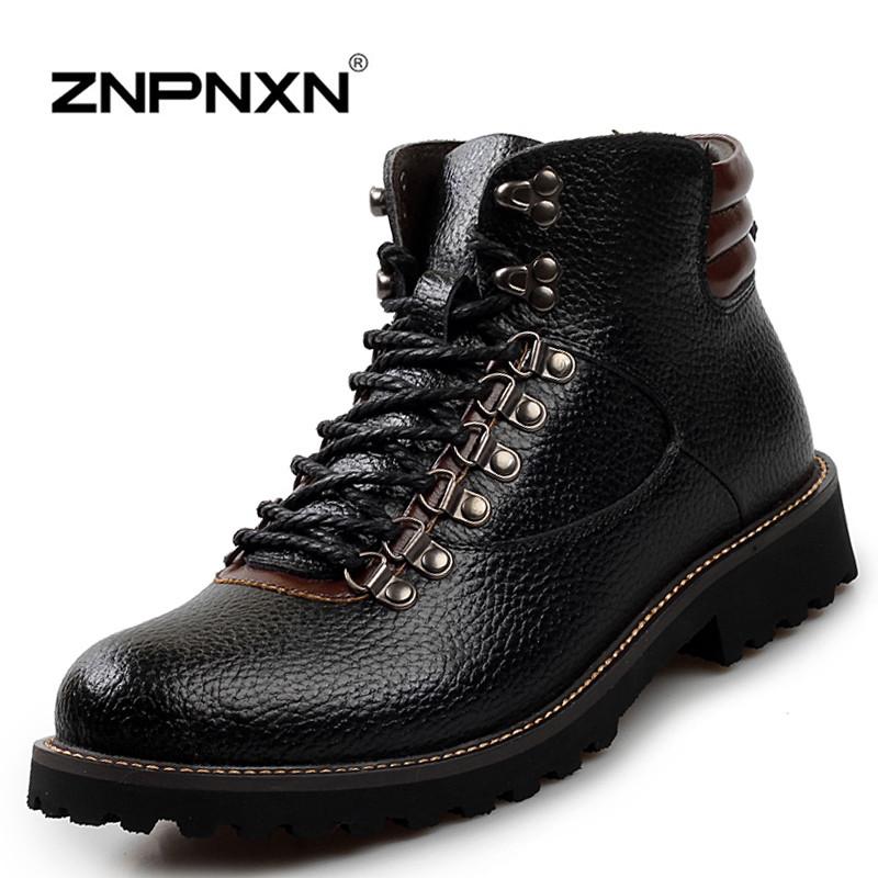 Men Winter Boots Genuine Leather Fur Snow Boots Men Winter Shoes Brand Black Ankle Boots For Men Botas Hombre 2015