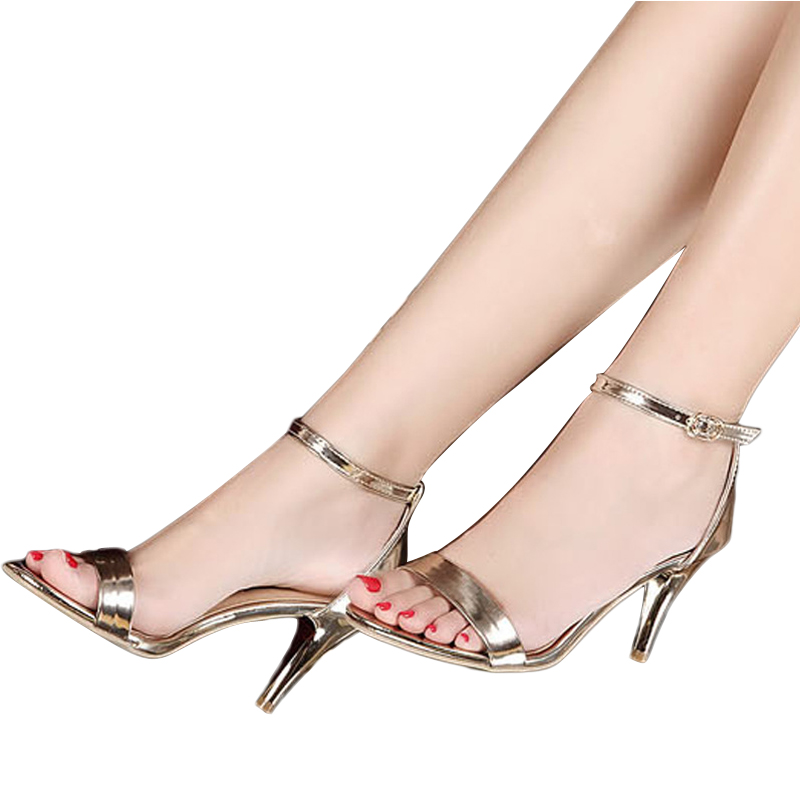 New Arrival Sexy High Heels Women Sandals Gold Sliver Leather Pumps Thin Heels High Heels Sandals Zapatos Mujer BT247<br><br>Aliexpress
