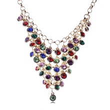 Europe and the United States Fashion Vintage Tassel Necklace Luxury Crystal Statement Necklace XL5930(China (Mainland))