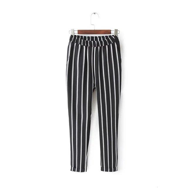 Jn14 мода 2016 англия стиль женщины уличная черный полосатый вреда брюки свободного ...