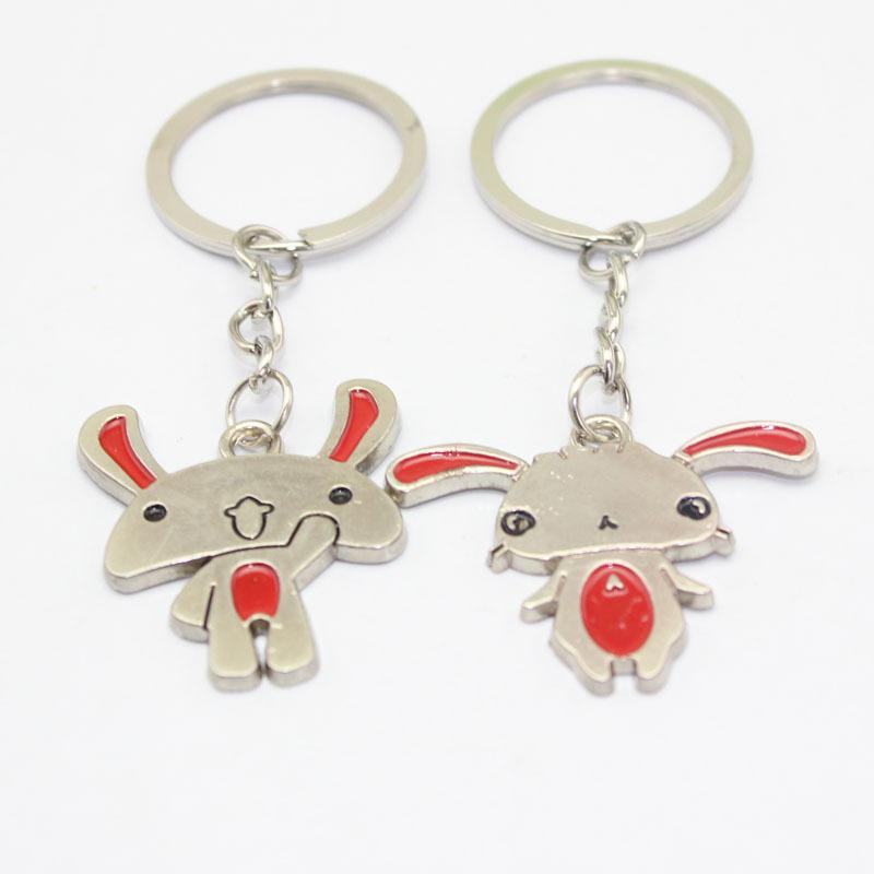 Animal Modeling Metal Key Accessories Rabbit Lovers Keychain Creative Gift Custom Logo Key Rings Macaron Rabbit Keyring(China (Mainland))