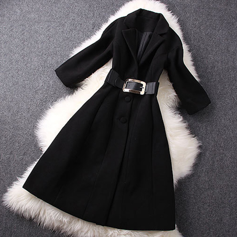 2014 New fashion winter women's clothing wool blends long coat elegant slim black overcoat warm jacket - Joan and Davie store