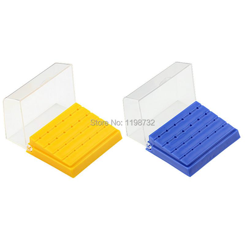 2 Pcs Dental Equipment 24 Holes Plastic Holder Burs Block Holder Blue & Yellow Case Dentist Products(China (Mainland))