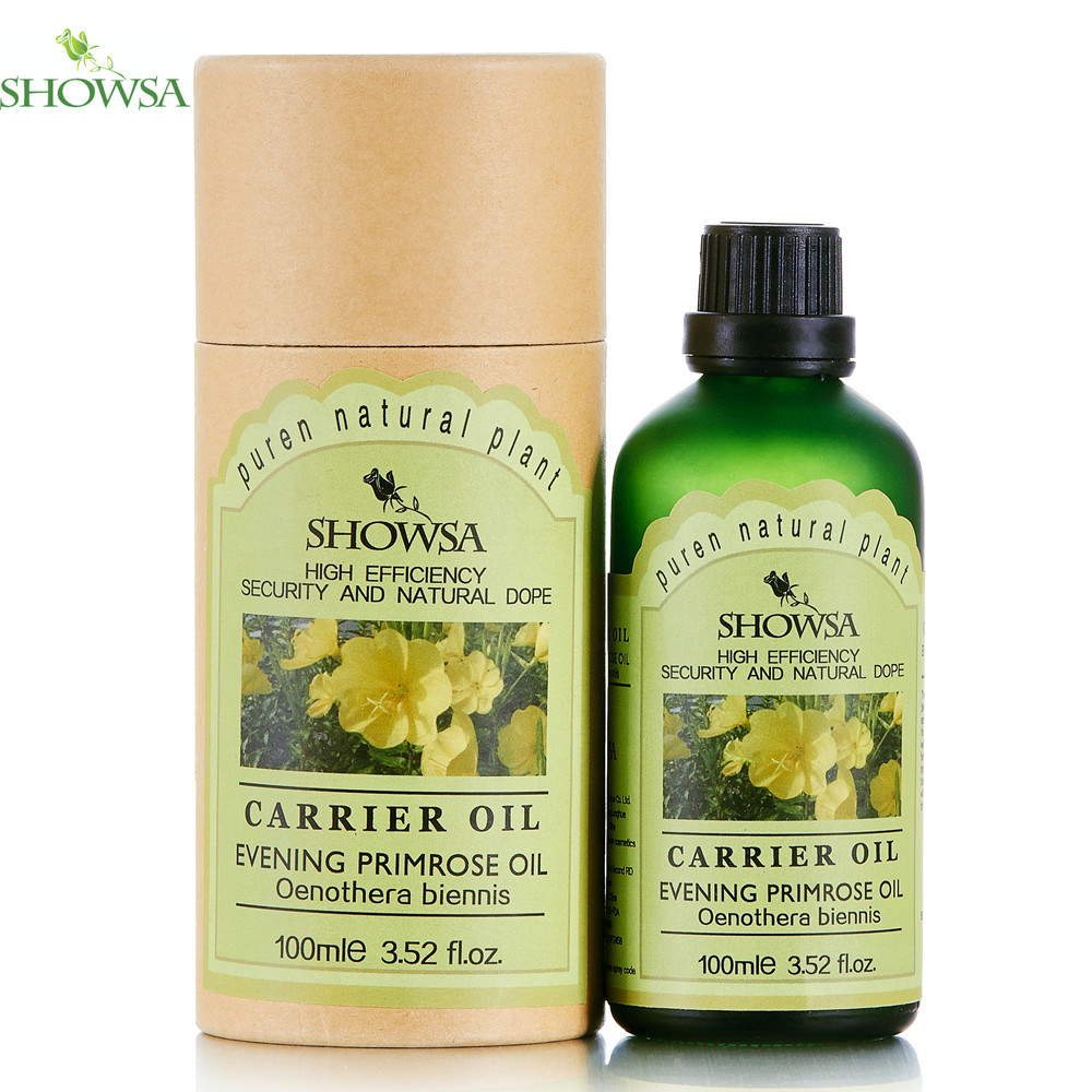 SHOWSA 100% Natural Evening Primrose Base Oil 100ml Brighten Moisturize Increase Elasticity Body Care skin care Massage Oil(China (Mainland))