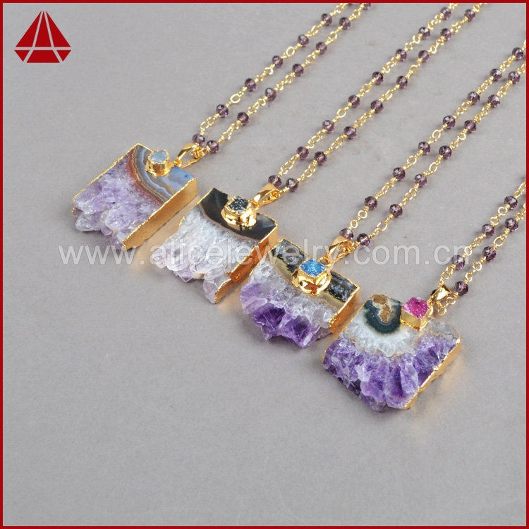 Natural Amethyst Necklace Slice Pendant Necklace & Natural Agate Druzy Geode Golden plated  Drusy Quartz Amethyst Jewelry G238