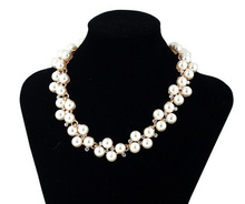 2015 New Hot Sell Simulated Pearl Jewelry Trendy Women Necklaces Pendants Short Chokers Statement Necklace For