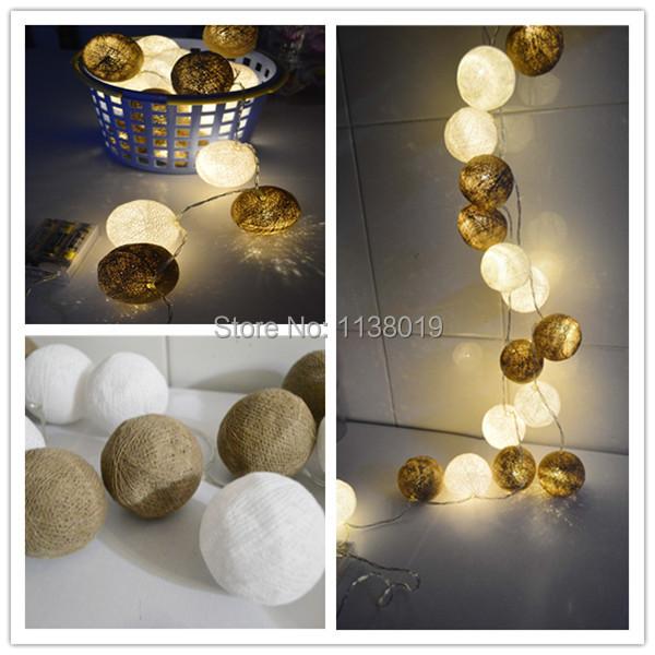 Brown & white cotton ball led string light battery Operated LED 20pcs/set Fairy lights , bedroom, handmade,wedding,xmas decor(China (Mainland))