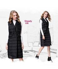 Новый бренд женский длинный жилет ультра легкие пуховые жилеты Женский пуховик длинный без рукавов отложной воротник куртка(China)