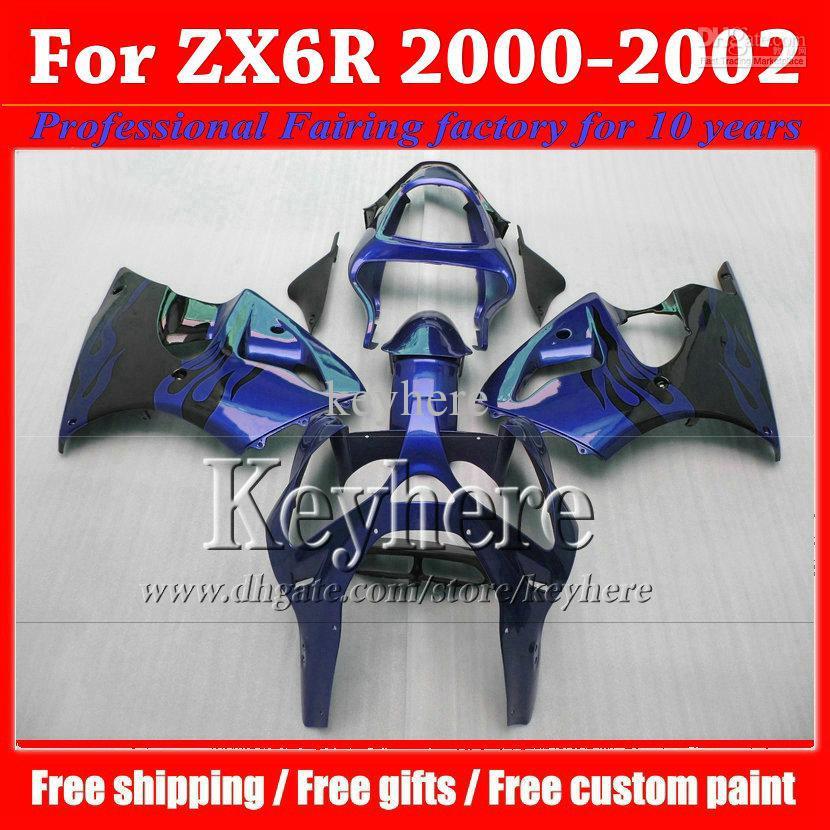 ABS blue black 2000 2001 2002 Kawasaki ZX6R fairing Ninja 00 01 02 high quality motorcycle fairings kit motorcycle(China (Mainland))