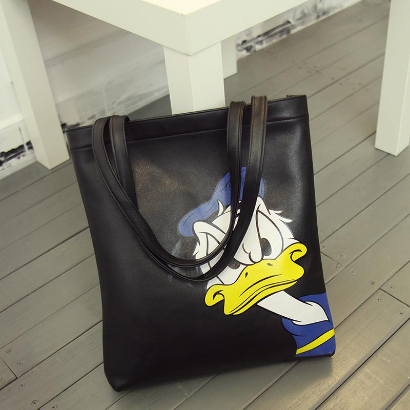 2016 cartoon girl Donald Duck bag ladies Hello Kitty printing women's shoulder bags large capacity Mickey bags girl's handbag(China (Mainland))