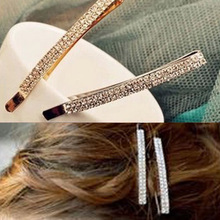 New Fashion Simple Double Rows Shine Crystal Silver Plated Gold Plated Hairpins Barrette Hair Jewelry