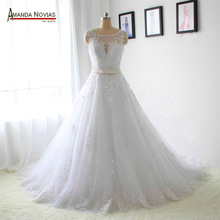 2016 New Model Crystal Belt Lace Appliques Wedding Dresses Real NS1265(China (Mainland))