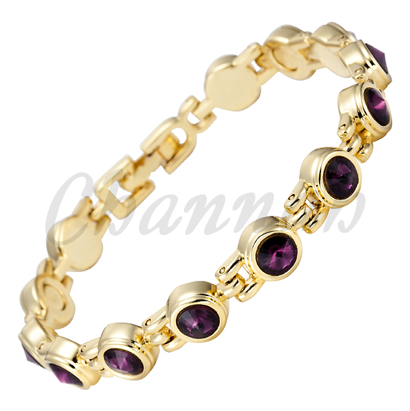 2015 Ladies 18K Gold Coating Purple Crystal Magnetic Bracelet Free Shipping Bio jewelry Gift Women Bangle via Hong Kong Post(China (Mainland))