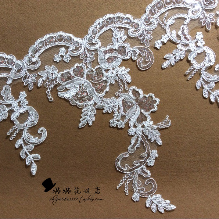 3yards lot hair accessory wave lace paillette decoration applique diy accessories laciness. Black Bedroom Furniture Sets. Home Design Ideas