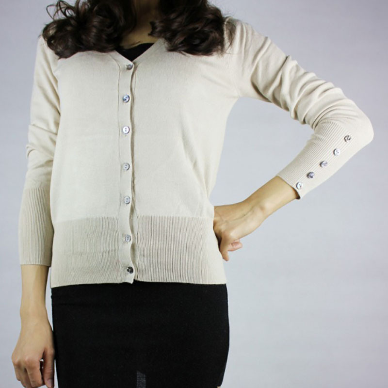 Elegant knitted blouse cardigan thin sweater easy to match ...