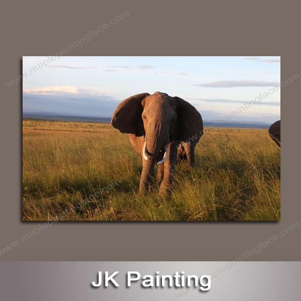 Free Shipping Wholesale Custom Unstretched African Elephant Painting Canvas Art Gallery Decor Picture --Wall Pictures Decoration(China (Mainland))