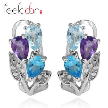 2.08ct Amethyst Sky Blue Topaz Swis Blue Topaz Earring Natural Gemstone Set Real 925 Solid Sterling Silver Best Gift For Women
