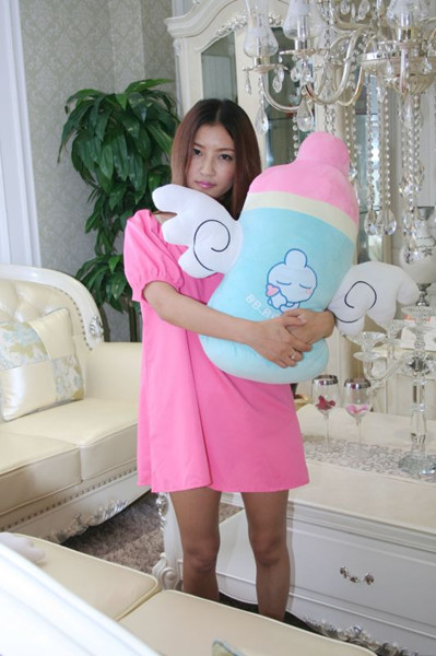 cute cartoon angel wings feeding bottle plush toy about 60cm soft pillow Christmas gift h705(China (Mainland))