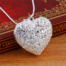 1pc Free Shipping Silver Plated Jewelry Pendant Fine Fashion Cute Silver Plated Heart Necklace Pendants Top Quality(China (Mainland))