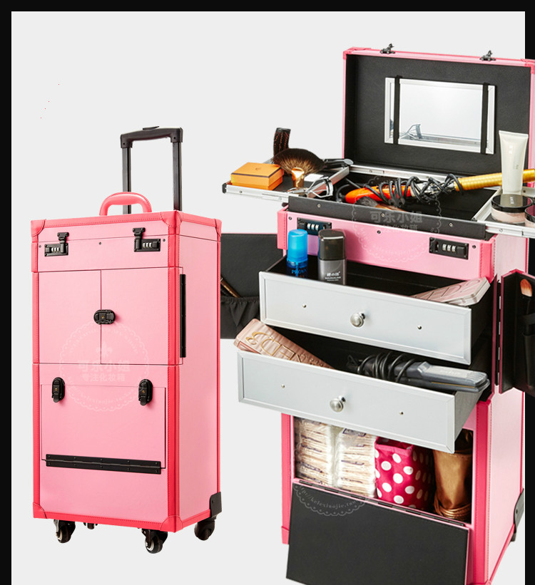 2016 Fashion Big Professional trolley Cosmetic case nail makeup salons Box multilayer Tool Bag New Type Popular Pink(China (Mainland))