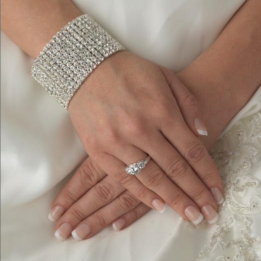 11 Rows Rhinestone Crystal Diamante Stretch Wedding Bridesmaid Bracelet Silver Plating<br><br>Aliexpress