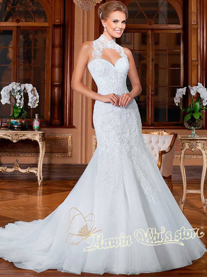 vestido de novia tirantes alrededor del cuello