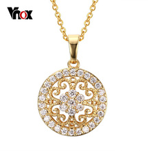 Vnox Women's Statement Necklaces Pendants 18K Gold Plated Round Love Crystal Accessories Jewelry(China (Mainland))