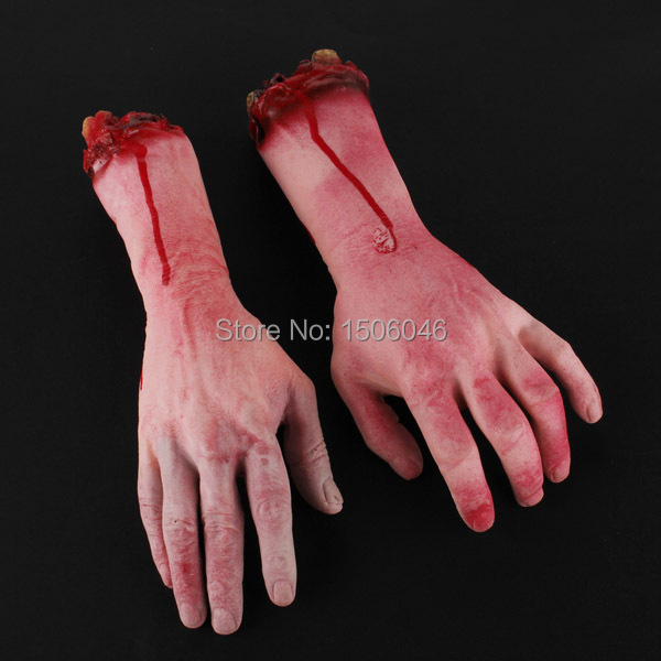 1Pair Severed Scary Bloody Blood Fake Latex Hands Realistic Halloween Holiday Supplies Decoration Costume Wholesale FreeShipping(China (Mainland))