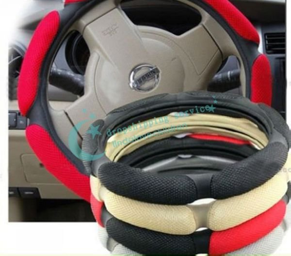 Brand New Fashion Practical Random Color Grid Style Steering Wheel Covers Drop shipping/Free Shipping(China (Mainland))