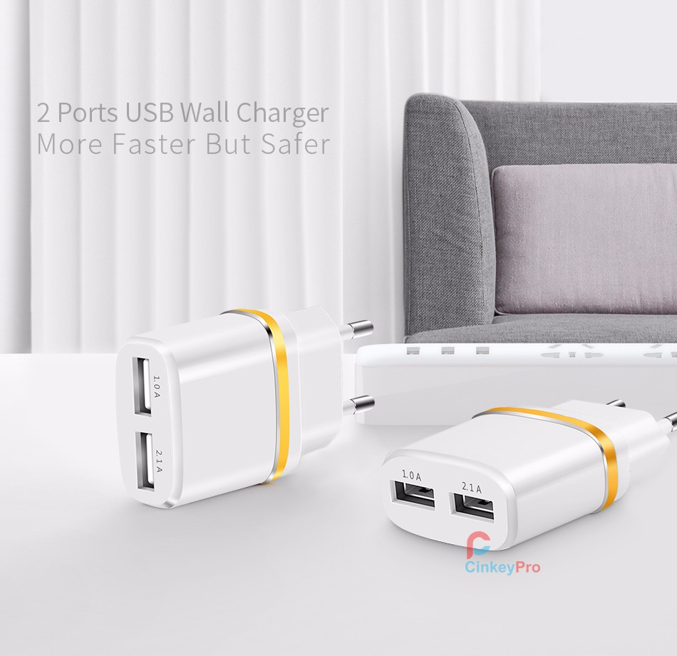 USB Charger For iPhone iPad Samsung Universal 2 Ports Wall Adapter 5V 2A EU Plug Aluminum Mobile Phone Charging CinkeyPro