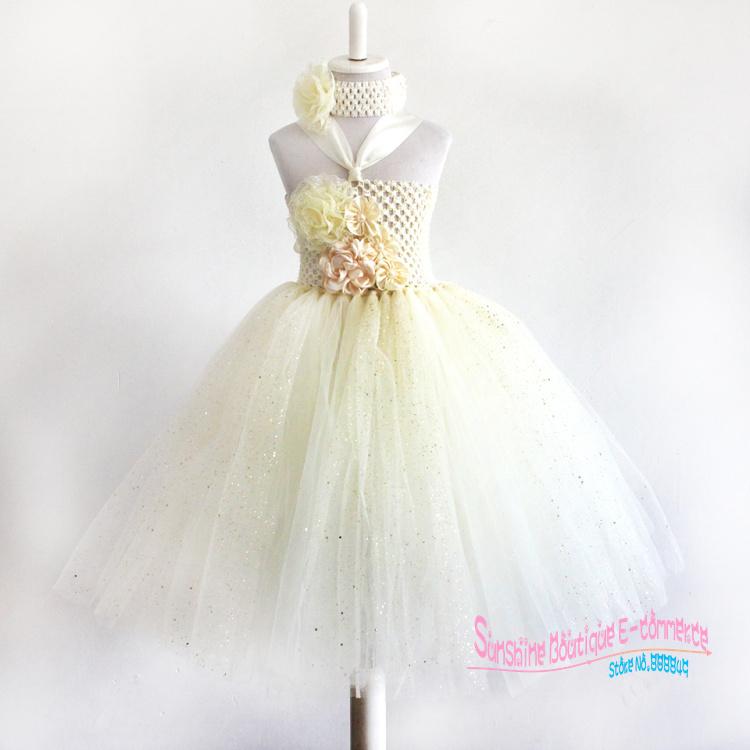 2015European and American Style handmade Children's Dress for Party 1-7year ivory baby girls flower tutu dress(China (Mainland))