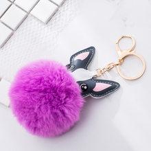 QiYuFang Fluffy Rabbit Fur Bola Chaveiro Animal Cão Buldogue Francês Saco Titular Chaveiro de Couro Pu Charme Bugiganga Chaveiro Pompom(China)