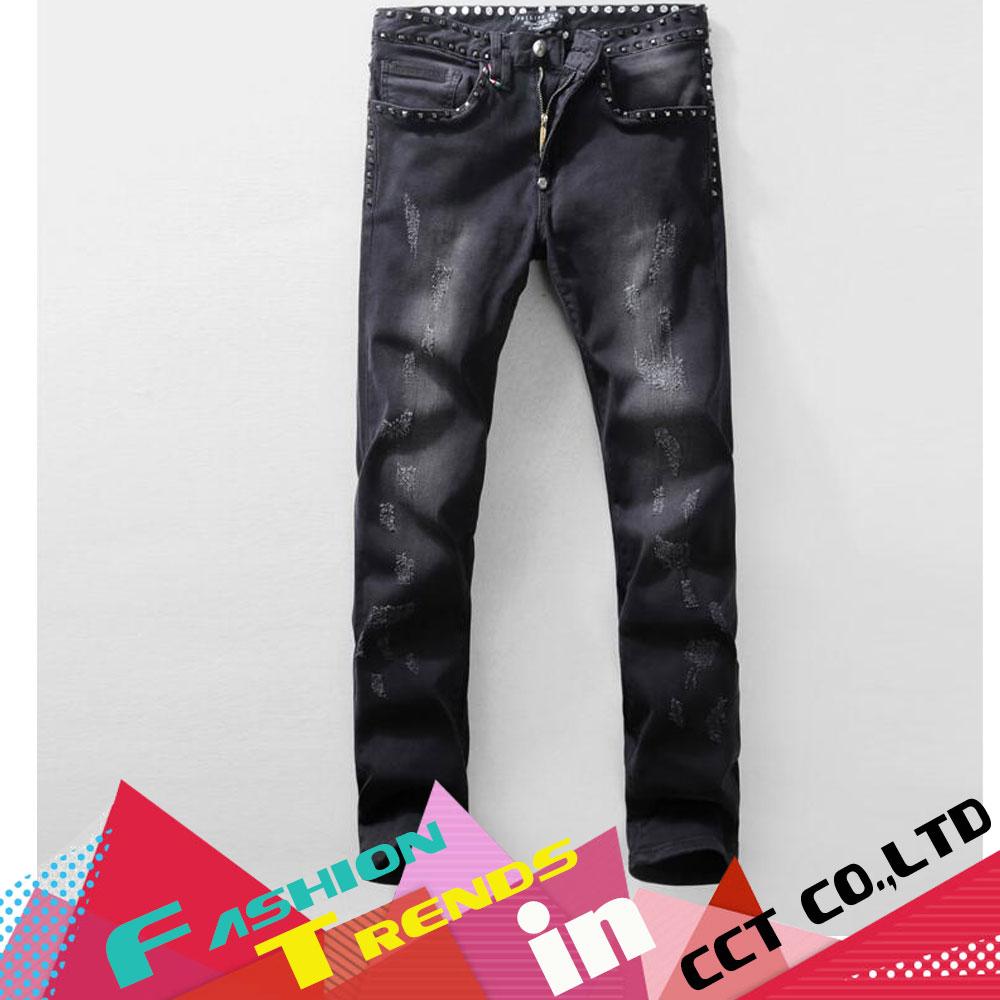 Фотография NWT Hot Men Jeans Famous Brand Distressed Slim Elastic Biker Skinny Jeans Men Classic Splice Men