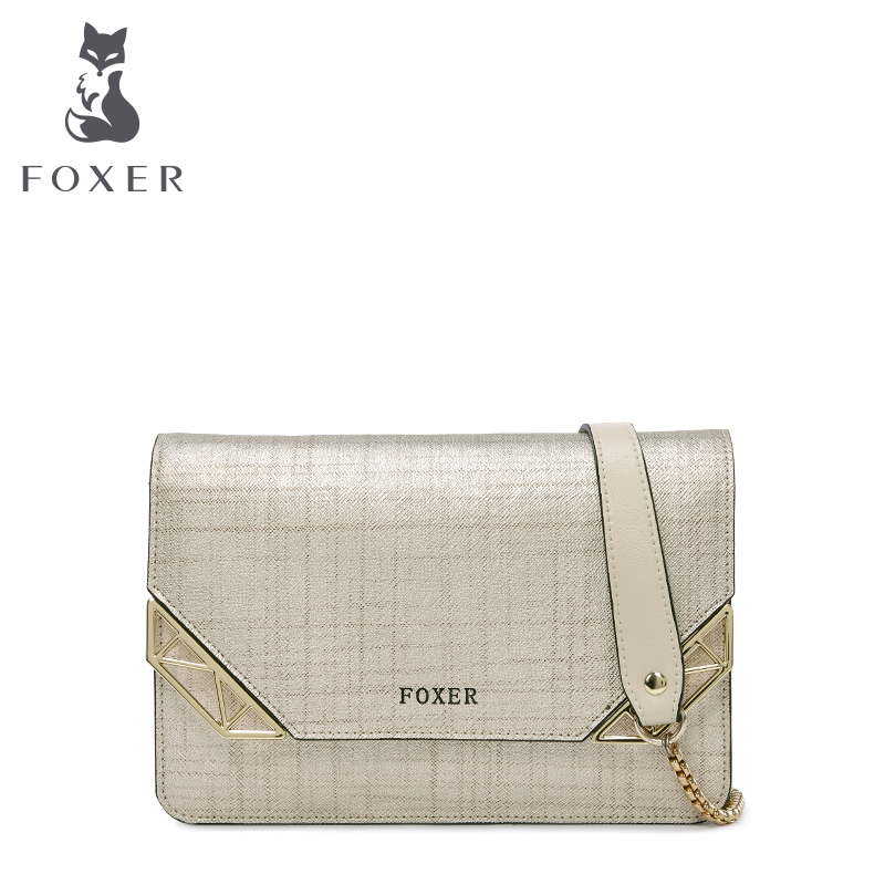 Фотография Real Leather Cowhide Brand FOXER Flap Bag With Chain Mini Shoulder Bag Messenger Bag High Quality New Fashion