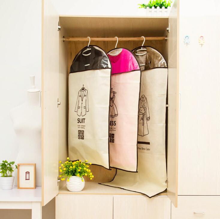 multi-functional waterproof non-woven fabric dust cover storage bag dress suit coat garment bag organizador closet organizer(China (Mainland))