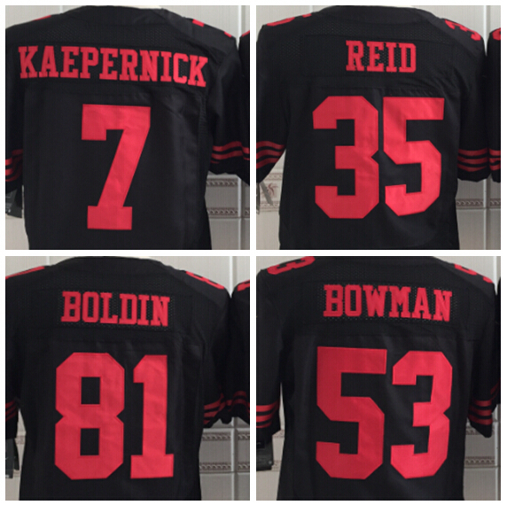 Cheap new Men's Elite American Football Jerseys San Francisco #7 Colin Kaepernick 49er black jerseys #35 Eric Reid Black jerseys(China (Mainland))