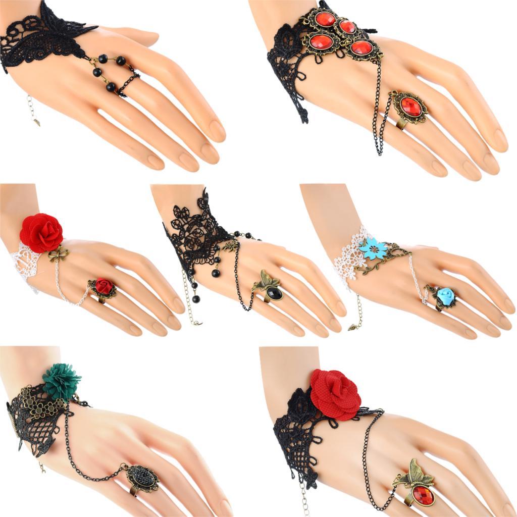 Fashion Gothic Lace Bracelet Finger Circle Chain Flower Decor Party Queen Bracelets bijoux(China (Mainland))