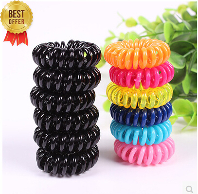 5pcs/lot Telephone Cord Elastic Ponytail Holders Hair Ring Scrunchies For Girl Rubber Band Tie Free Shipping(China (Mainland))