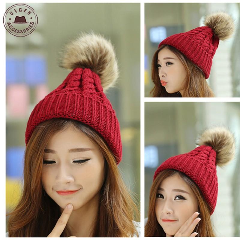 New Womens Winter Beanie Hat Acrylic black warm crochet knitted hat with fur pom pom beanies for girls [HUB083g0850](China (Mainland))