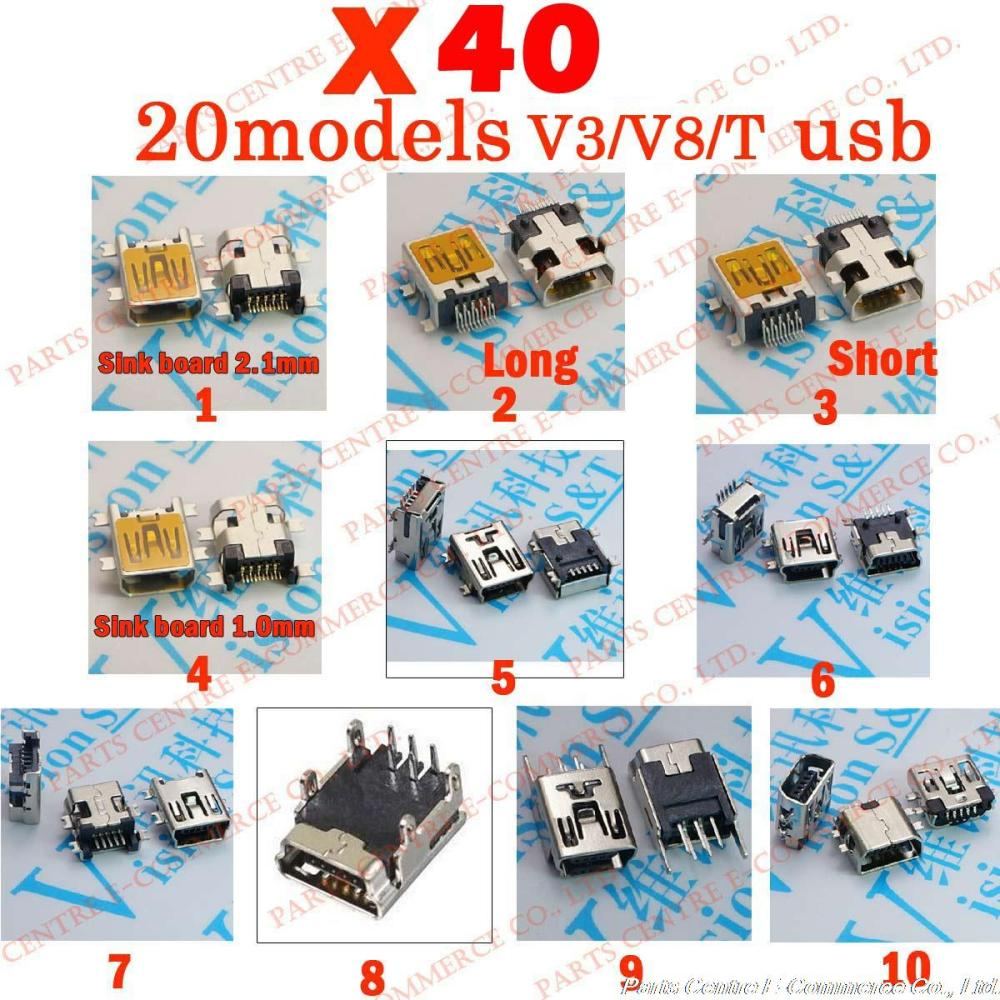 40X 20models, 5Pin 10Pin Micro USB Tail USB Charing Connector for ZTE huawei and other mobile tablet , V8 V3 microUSB,T mini USB(China (Mainland))