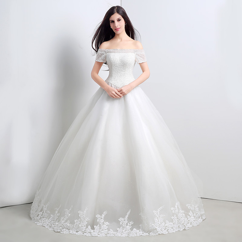 2015 Line White Tulle Wedding Dresses Sweep Train Flower Appliques Beaded Shoulder Covered Button - ebelz03 store