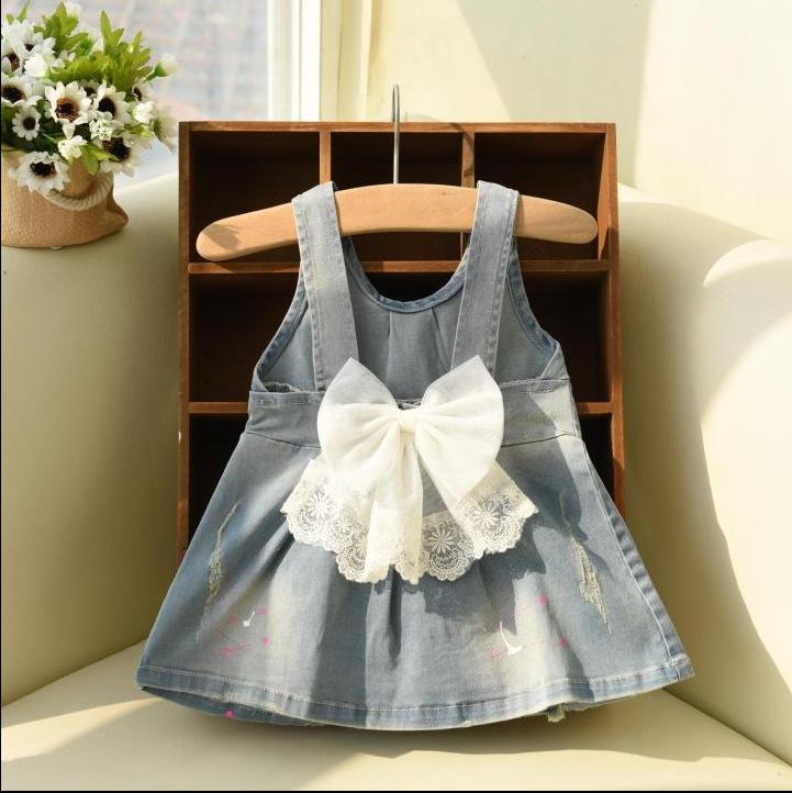 Wholesale 5pcs/lot Kids 2015 Bow Denim Princess Lace Little Girl Dresses Cinderella Dress Girl Children Clothing Free Shipping<br><br>Aliexpress