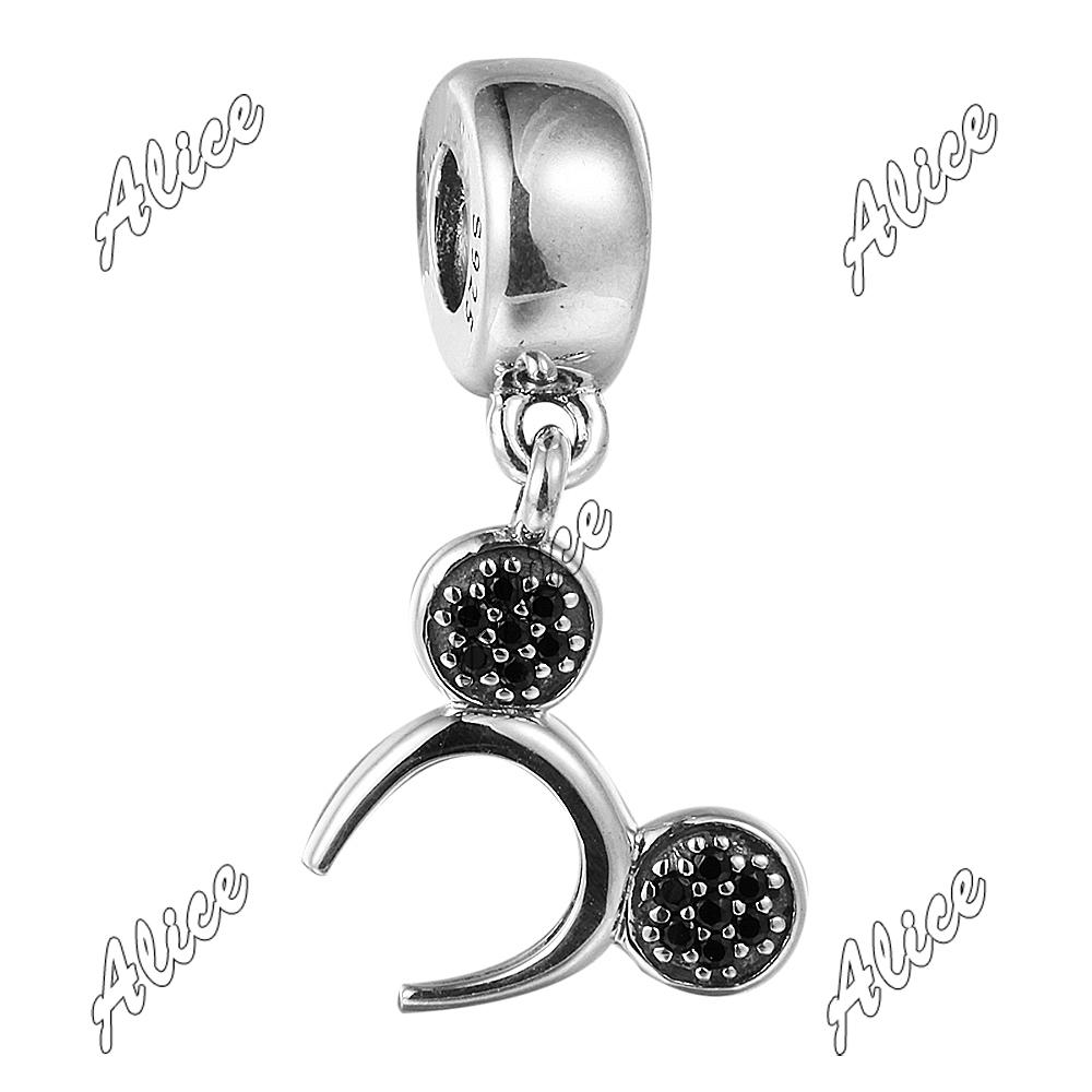 Symbols 925 Sterling Silver Beads Authentic Jewelry Fit Pandora Charms Bracelets Mickey Headband Silver Dangle Black Crystal<br><br>Aliexpress