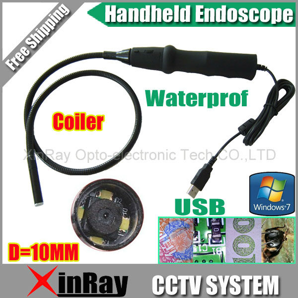 Free shipping ,Handheld USB Pipe Inspection Camera Borescope Endoscope Tube Snake Waterproof with 10mm Diameter 4LED ,XR-IC2C