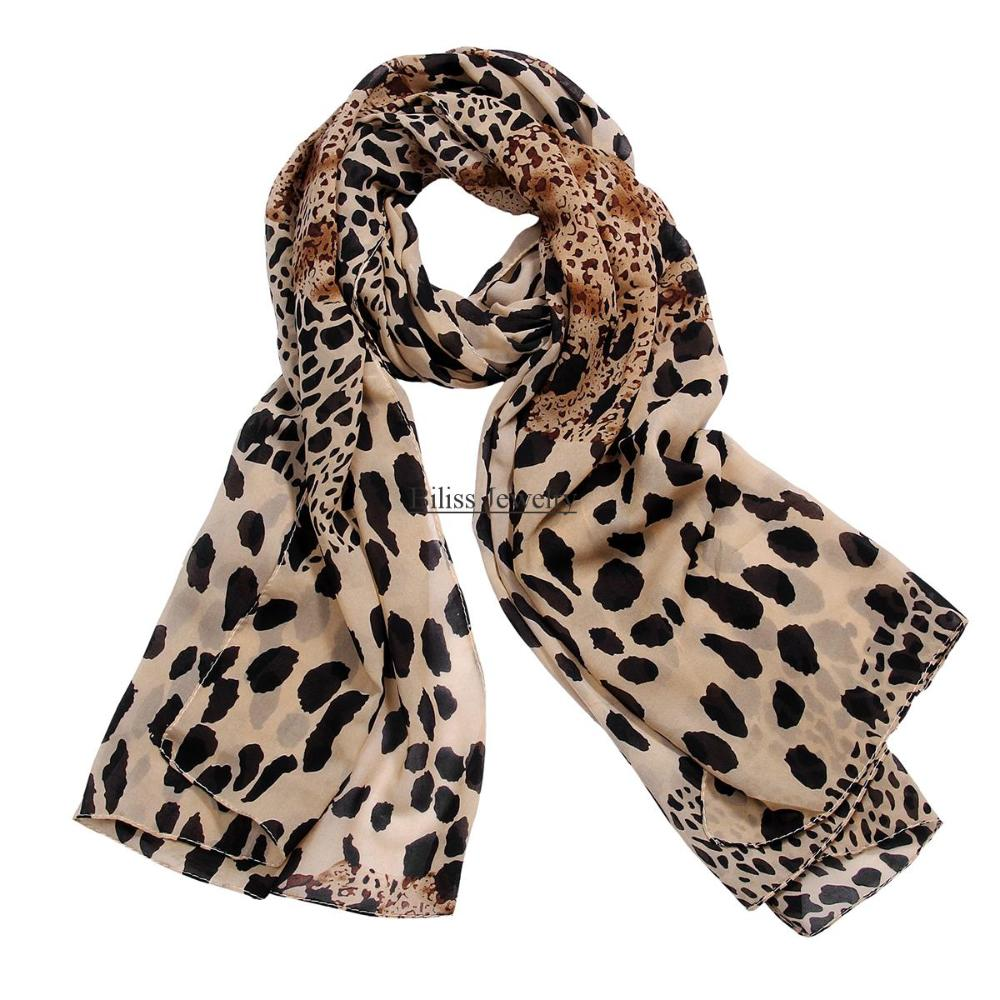 charming and fashion brown color chiffon leopard